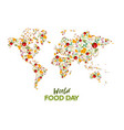 food day greeting card of vegetable world map vector image vector image