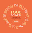 food delivery service signs round design template vector image vector image