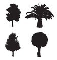 four silhouette trees set vector image vector image