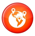 Globe and map pointers icon flat style vector image vector image