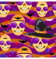 Halloween seamless patterns with skull hat bats vector image