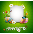 happy easter eggs with tulip flowerspaper on gras vector image