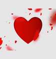 heart confetti falling and and big heart paper vector image