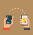 human hands holds smartphone and credit card vector image