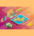 hyderabad india city isometric financial economy vector image vector image