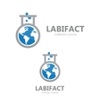logo combination of a earth and lab vector image vector image