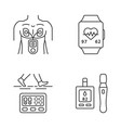 medical devices linear icons set vector image vector image