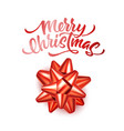 merry christmas lettering with bow ribbon vector image vector image