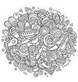 Mexico hand drawn cartoon doodles
