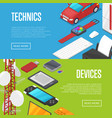 modern technics and computer devices set vector image