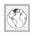 monochrome contour frame of world map with vector image vector image