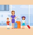 mother travel with son and daughter characters vector image vector image