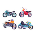 motorbikes set stylish motor transport item models vector image