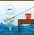 net with fish and bucket vector image vector image