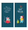new years card with funny rats graphics vector image vector image