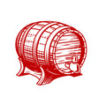 old wooden wine or beer barrel with faucet vector image
