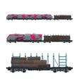 pink locomotive with railway platform vector image vector image