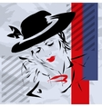 retro the woman in a hat vector image