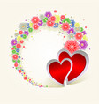 round wreath of flowers and two hearts vector image vector image