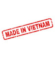 scratched made in vietnam rounded rectangle stamp vector image