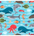 Sea creatures seamless background vector image vector image