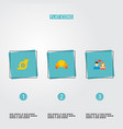 set of europe icons flat style symbols with french vector image