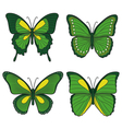 Set of green butterflies vector image vector image