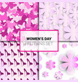 set of pink backgrounds seamless patterns for vector image