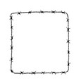 square frame from barbed wire silhouette vector image vector image