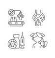 vaccination linear icons set vector image vector image