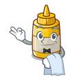 waiter yellow mustard in plastic bottle cartoon vector image vector image