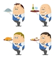 Waiters with trays set vector image vector image