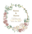 wedding wreath watercolor roses vintage decor vector image vector image