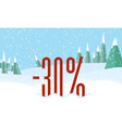 winter forest landscapesnowy sky red percent on vector image vector image
