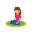 woman sitting on a carpet isolated cartoon vector image