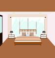 bedroom interior with furniture glass window vector image