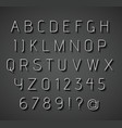 Thin 3d alphabet with shadow vector image