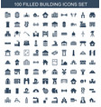 100 building icons vector image vector image