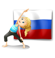 a girl with flag russian federation vector image
