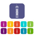 airport control tower icons set vector image vector image