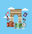 arch of triumph travel icons vector image vector image