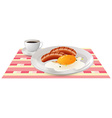 Breakfast with egg and sausages on table vector image vector image