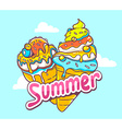 bright two ice creams on blue background vector image