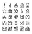 buildings landmarks line icons 3 vector image