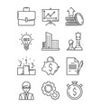 business line icons money finance starting vector image