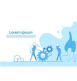 business people group twisting gear wheel working vector image