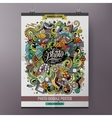 Cartoon colorful hand drawn doodles Photo poster vector image