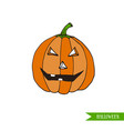 cartoon halloween jack-o-lantern pumpkin sticker vector image