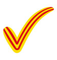 check mark in the style of the flag of catalonia vector image vector image