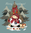 christmas hand drawn card with snowmen for design vector image vector image